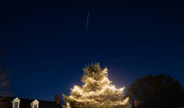 ISS above a Christmas tree in Arlington, Virginia