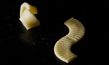 self-folding pasta before and after cooking