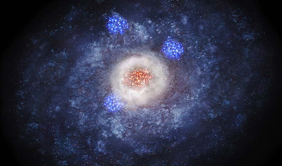 A glittering artist's impression of a disk galaxy transforming into an elliptical galaxy.