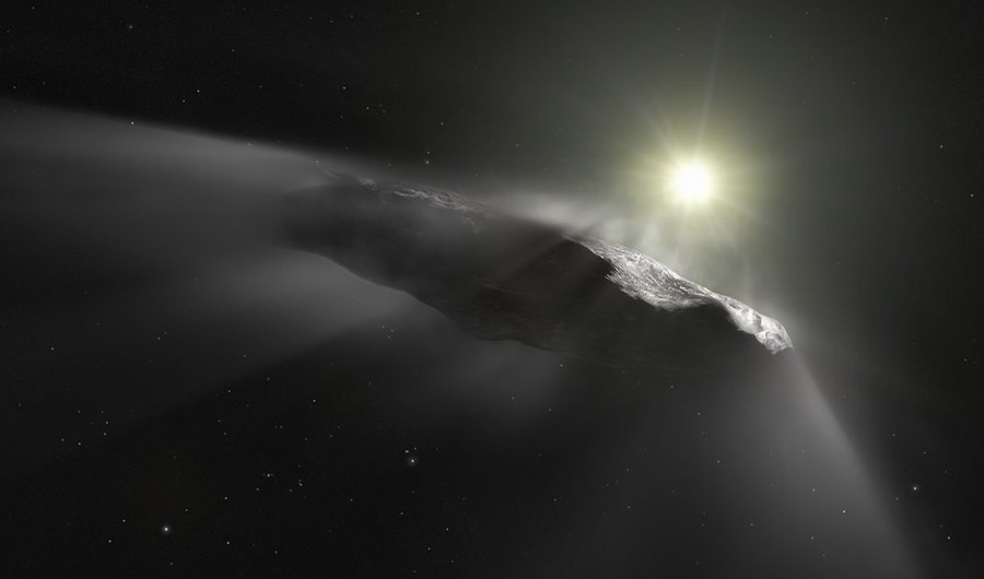 Illustration of 'Oumuamua in space