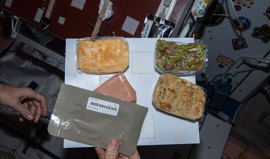 NASA astronaut Michael Hopkins' Thanksgiving meal on November 28, 2013. Image from aboard the International Space Station.