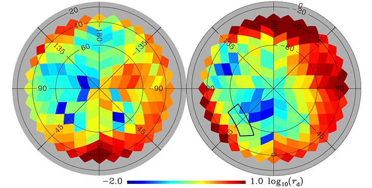 Planck's latest map of the full sky shows higher (red) and lower (blue) concentrations of interstellar dust.