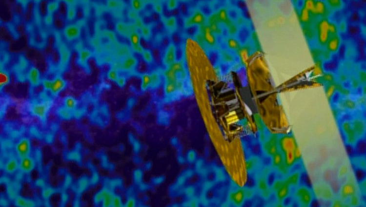 Wilkinson Microwave Anisotropy Probe superimposed over a visualization of cosmic microwave background radiation