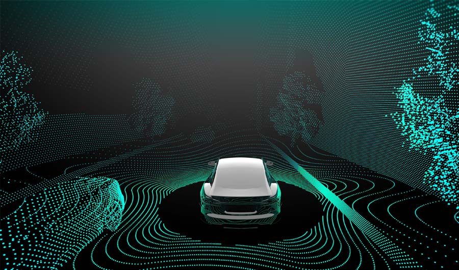 Self driving car with dots of light representing vision