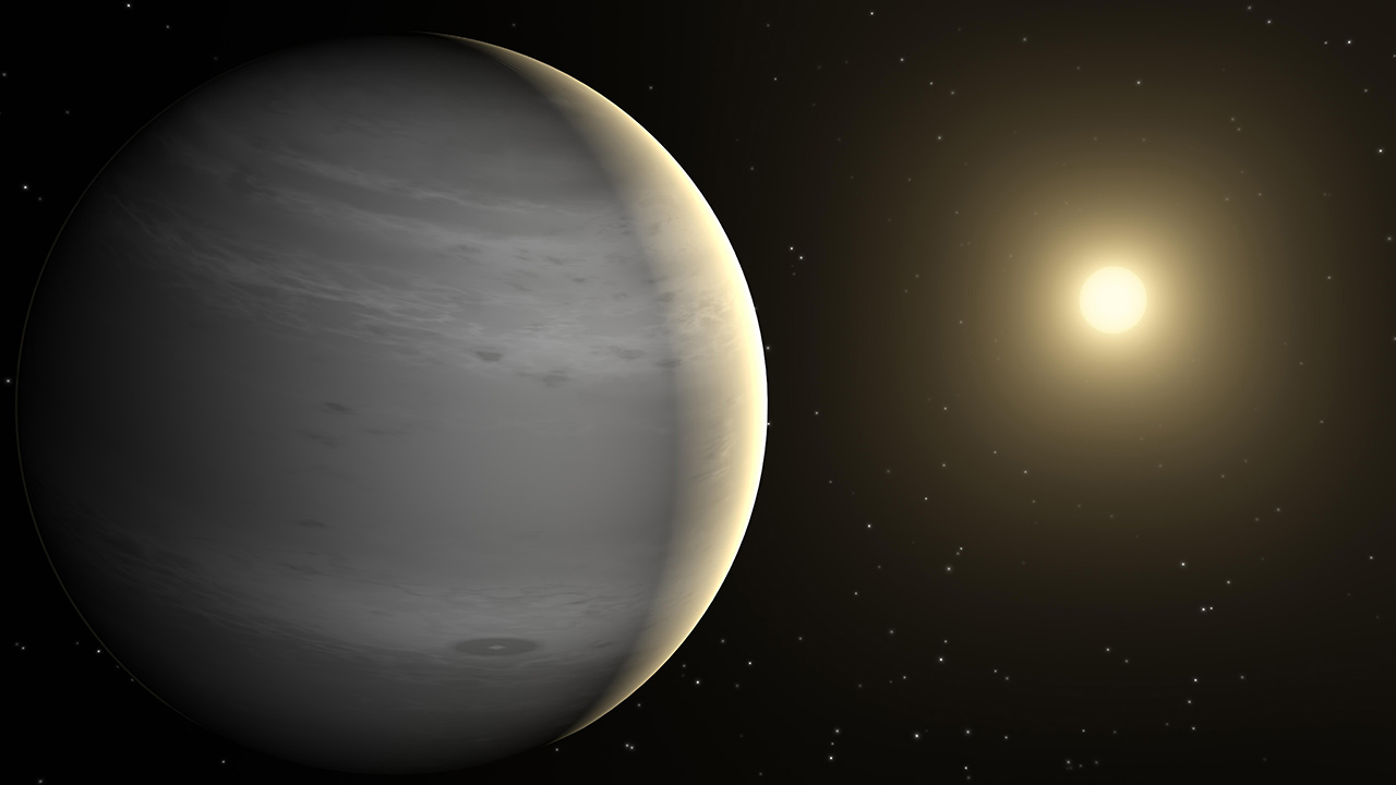 An artist concept for a gas giant exoplanet like KELT-1b.