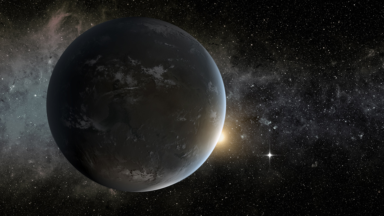 An artist concept for a Neptune like exoplanet, such as LHS 3844b.