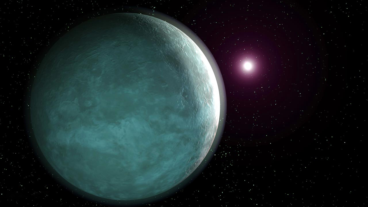 An artist concept for a rocky exoplanet larger than Earth, for example LTT 9779b.