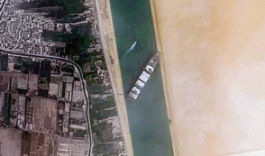 Satellite image of the container ship Ever Given, stuck in the Suez Canal