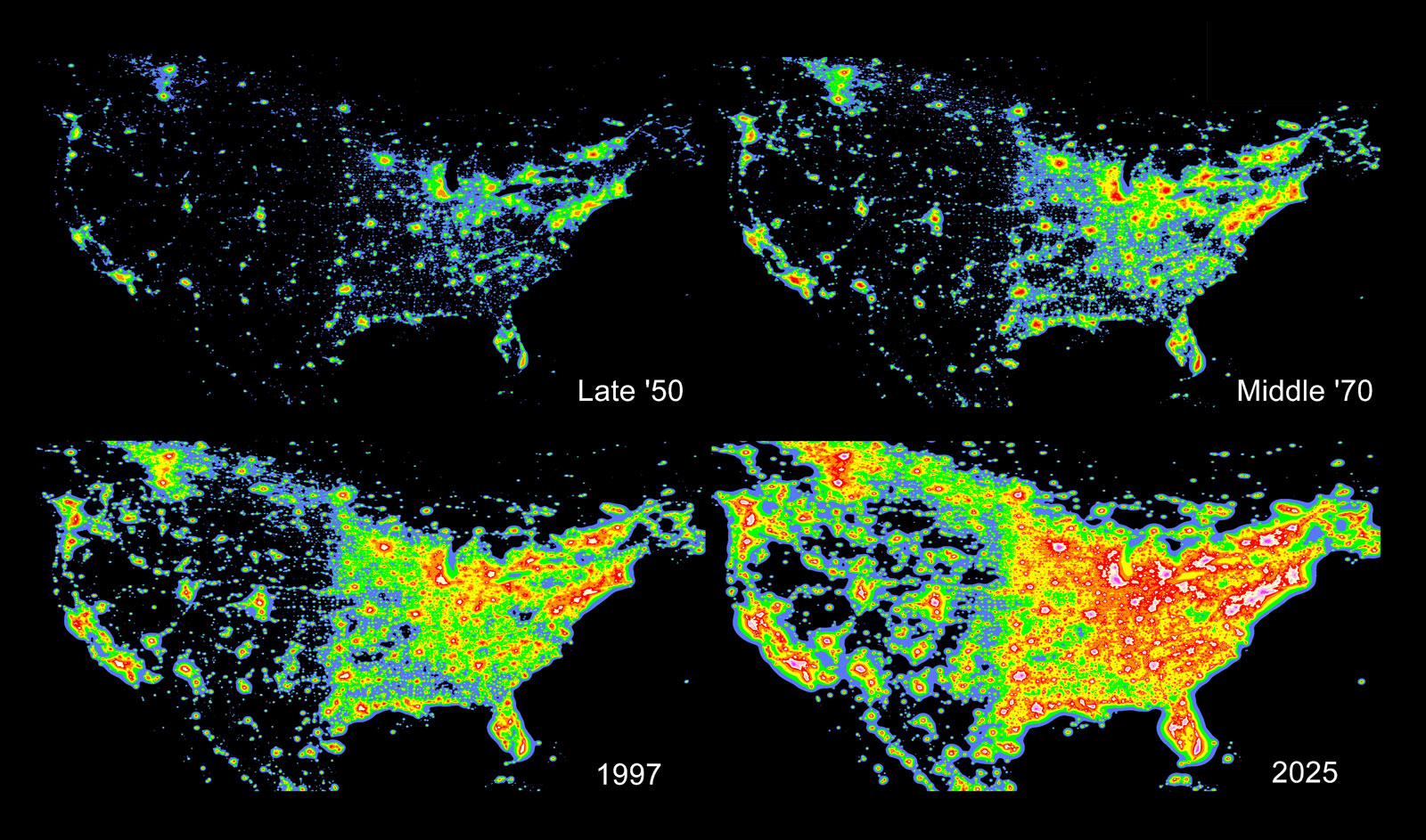 Satellite imagery of light pollution