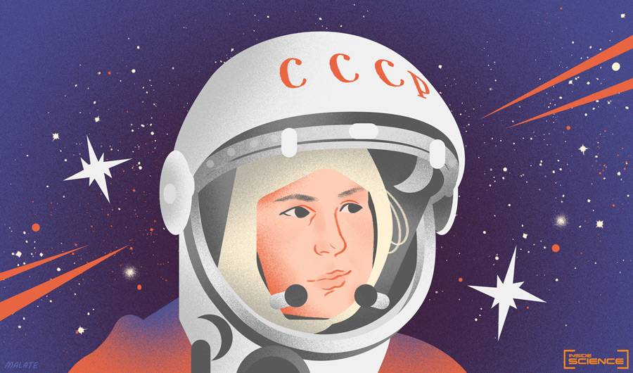 Illustrated portrait of cosmonaut Yuri Gagarin, wearing a helmet emblazoned with letters CCCP