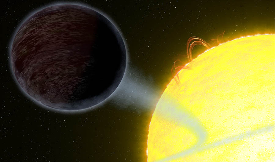An illustration of WASP-2b orbiting its parent star. The planet is egg-shaped and pitch black.