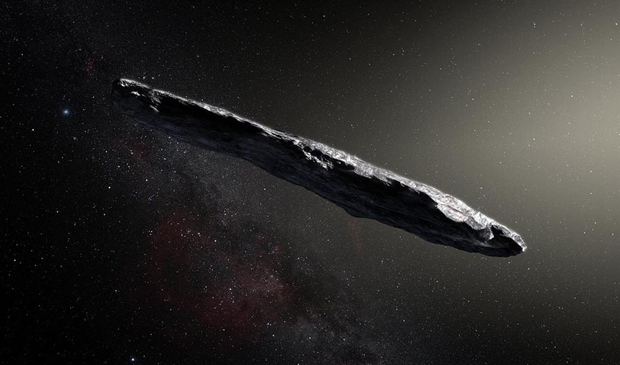 This is Oumuamua, the first known interstellar object to visit our solar system. It has a strange stretched shape unlike meteors and comets we know from our own solar system.