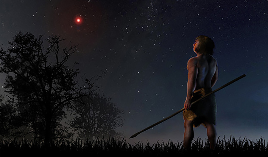 An illustration of an ancient man looking up at the night sky as he holds a spear in one hand. Above the trees on the left hand side glows a reddish star.