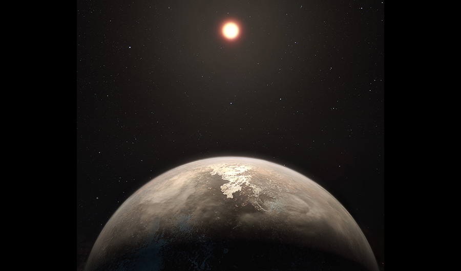 An illustration of the planet Ross 128 B, the second-closest planet yet discovered with the potential to support life. Here, it orbits a red dwarf star.