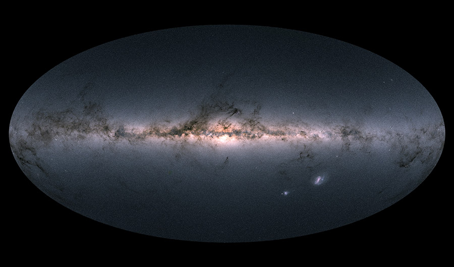 Gaia's latest picture of the Milky Way galaxy, stretched across the vertical axis of the picture. Framed in a black oval, the galaxy is shown as a bright pink line, mottled with dark clouds, across a background of stars and other galaxies.