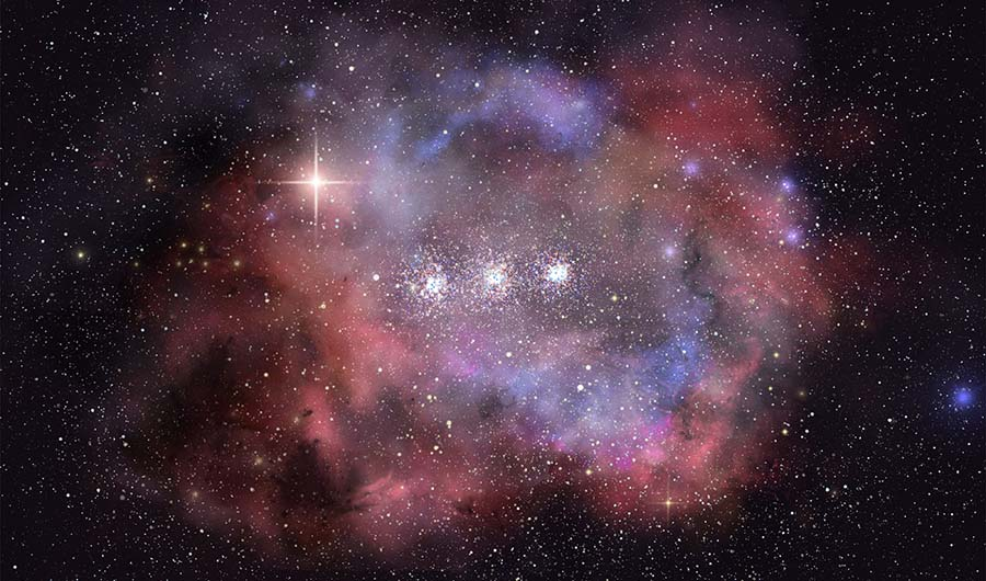 A star dusted painting of galaxy MACS0416_Y1. In center are 3 dusty stars in a row. They are surrounded by stellar dust, painted in pastel reds and purples.