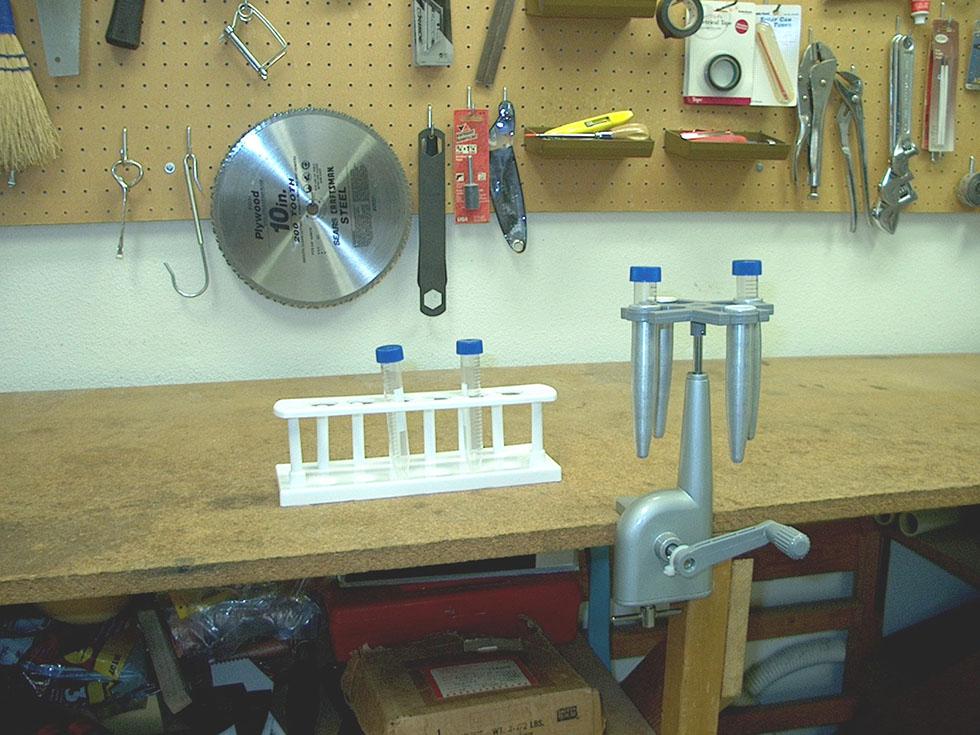 The hand cranked centrifuge in Robert Meyers' workshop