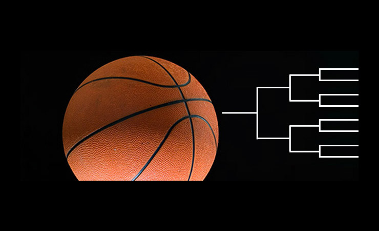 Composite image of basketball and tournament bracket, credit to Inside Science and Flickr/Doug L.
