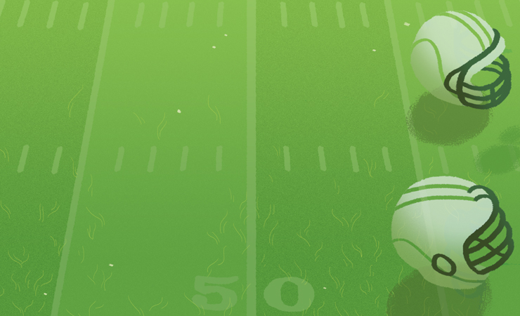 Hand drawn image of football helmets atop a green field
