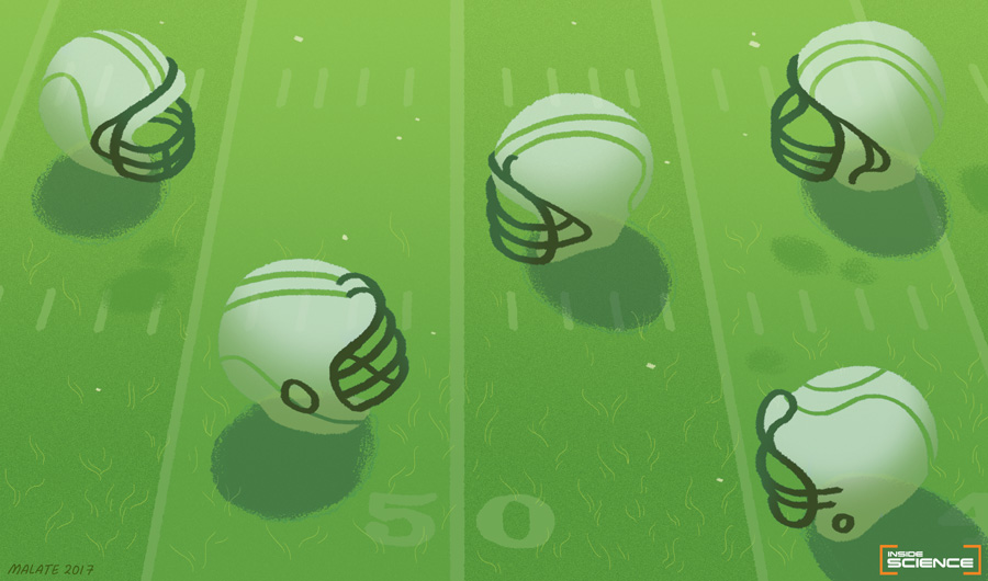 Illustration of several football helmets arranged on a stylized green football field with yard line markers.