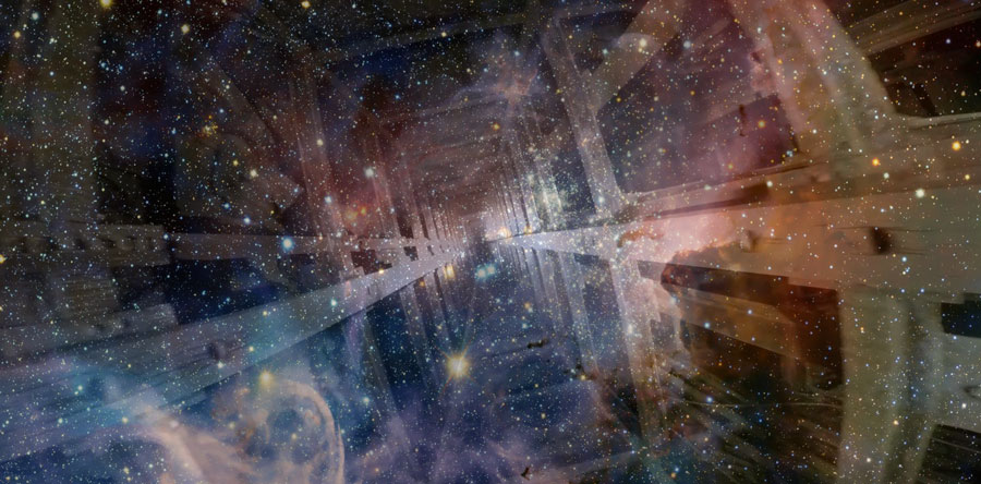 Still image of elevator shaft superimposed over a star field.