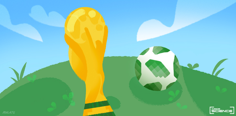 Image of World Cup trophy and Telstar 18 ball -- Credit Abigail Malate, Illustrator