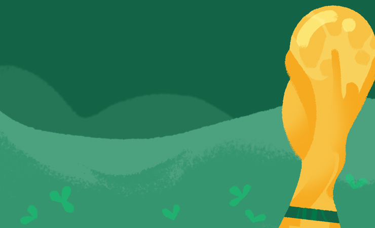 Image of World Cup trophy on green background