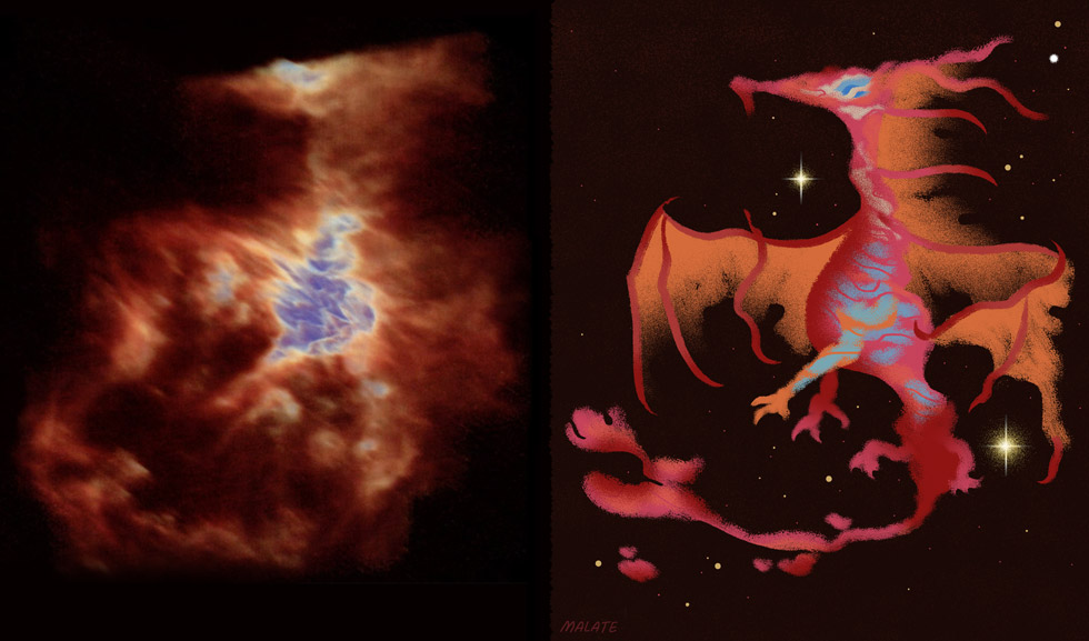 Astronomers Spot a Pudgy Dragon in the Orion Nebula