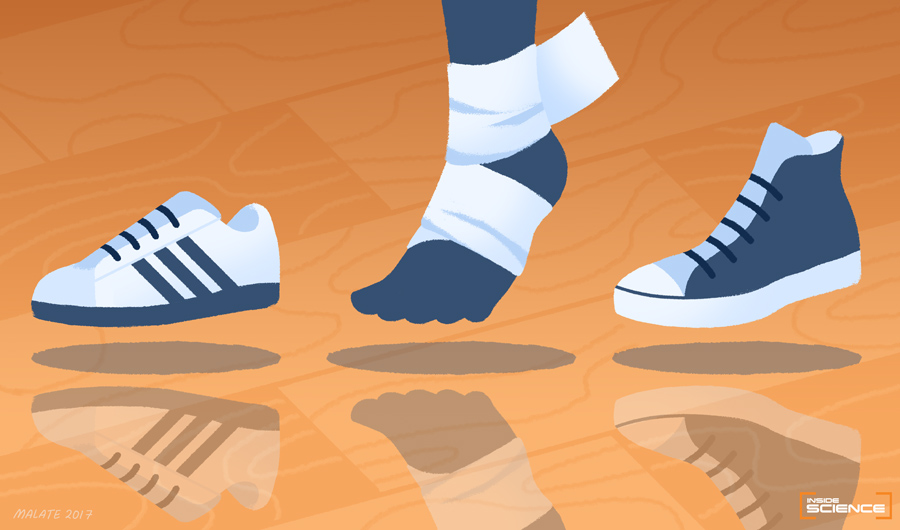 In this illustration, a foot and lower leg, with the ankle taped, is placed between two basketball sneakers, one with a high-top and one with a low-top.