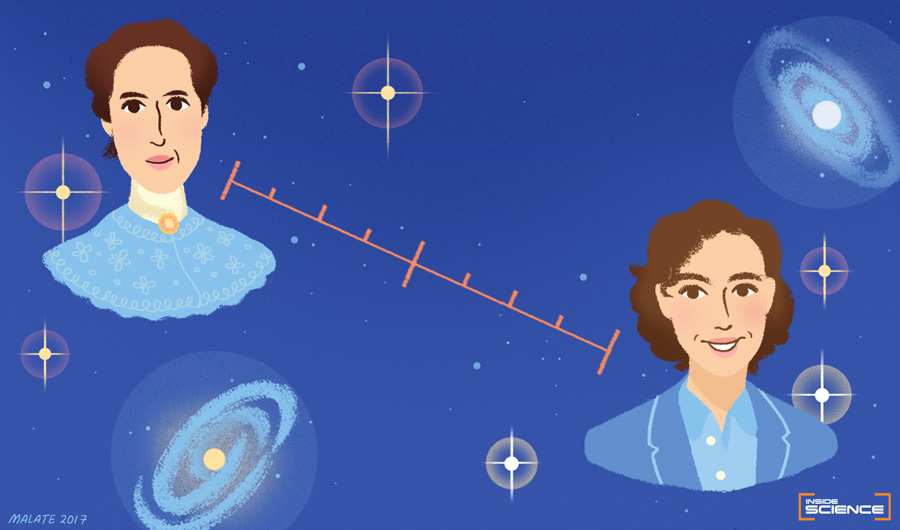An illustration of Henrietta Leavitt and Kate Hartman against a space background.