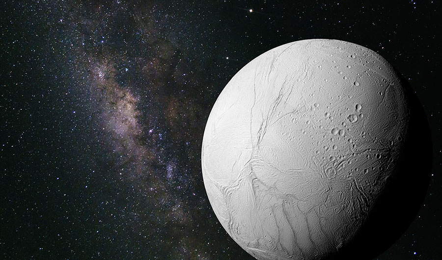 An illustration of Enceladus, the sixth largest moon of Saturn, shown here as an icy, white moon against a starry background.
