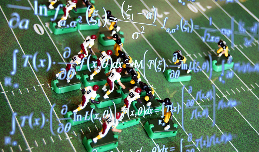 Math formulae with football figurines