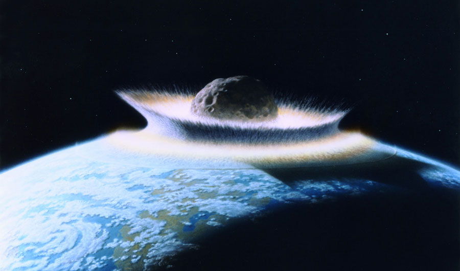 An artist's depictions shows a giant meteor crashing into the Earth