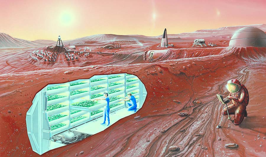 Artist's concept of possible colonies on future Mars missions.    Image credits     NASA Ames Research Center
