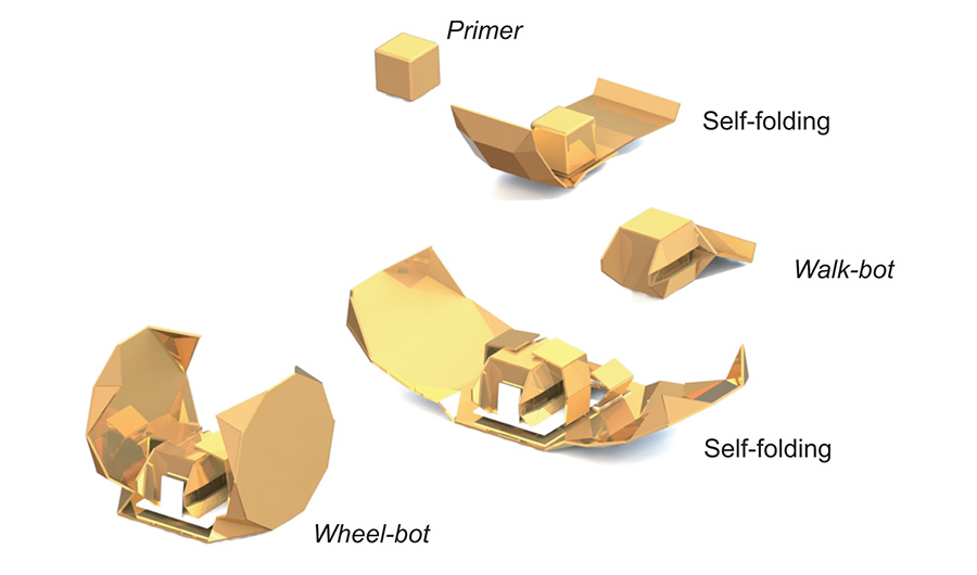 Various origami exoskeletons are shown, which can be layered on top of one another to equip a basic cube with different locomotion capabilities.