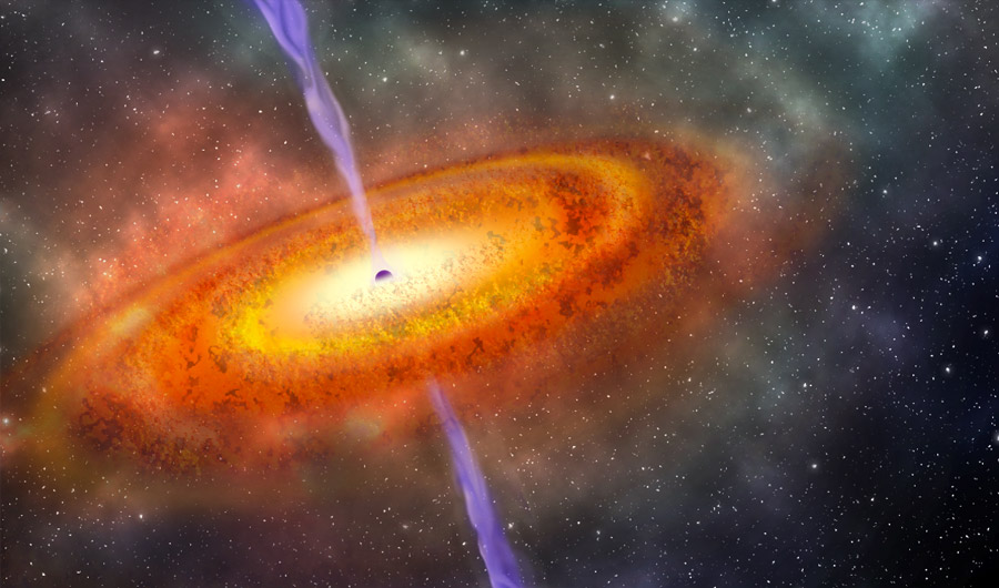 Bright jets shoot from a quasar, powered by a supermassive black hole.