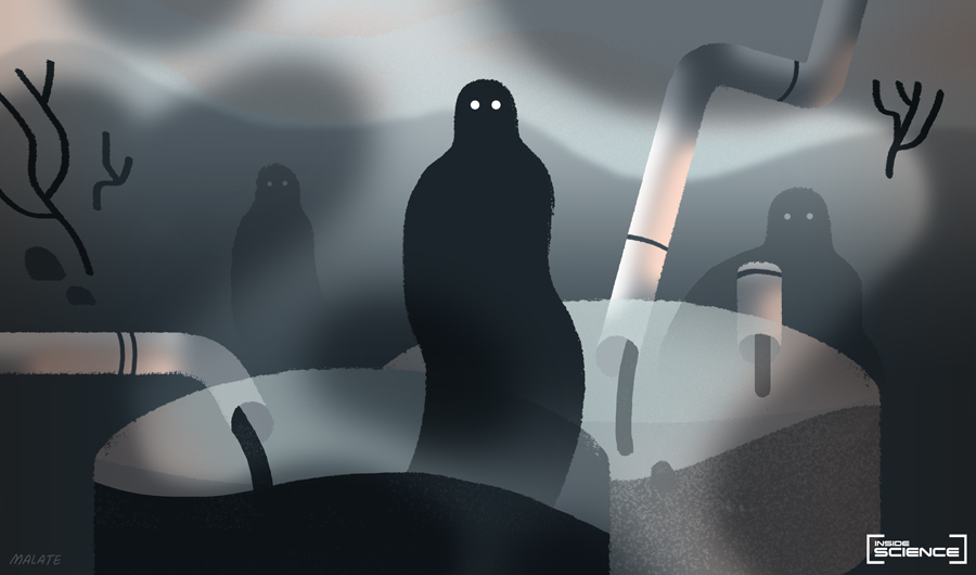 Image shows shadowy figures and barrels of radioactive waste.