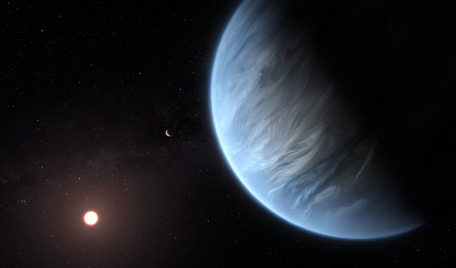 Image set in space with watery, bluish planet in foreground and faint star in background.