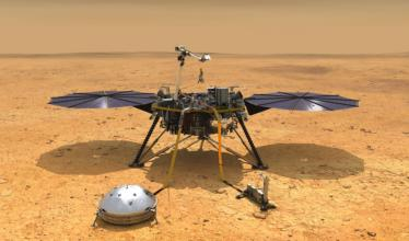 An artist's concept of the InSight lander as it might look on the surface of Mars.