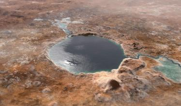 An artist's representation of a water-filled crater on ancient Mars.