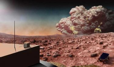A dust storm lingers over dull red Martian soil, as a rover sits in the foreground of the image