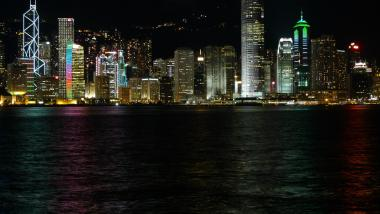 City lights in Hong Kong