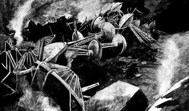 "Drawing of alien invasion from ""The War of the Worlds"""