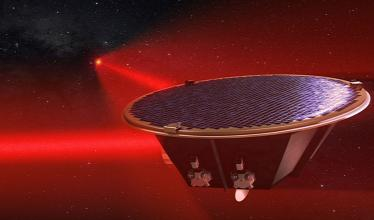 An artist's rendering of the LISA satellite.