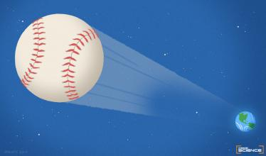 Illustration shows a baseball flying through space away from the Earth, located in the background of the image.