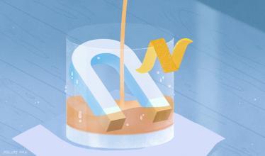 Artistic interpretation of a magnet cooling a cocktail